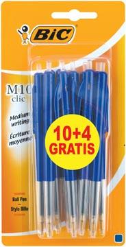 Bic balpen M10 Clic, 0,4 mm, medium punt, bleu, blister 10 stuks + 4 gratis