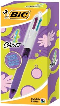 Bic stylo bille 4 Colours Grip Fashion, boîte de 12 pièces