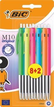 Bic balpen M10 Clic Colors 8+2 gratis, op blister