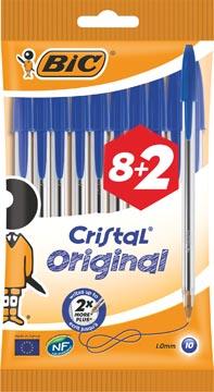 Bic balpen Cristal Medium, bleu, blister 8 + 2 GRATIS