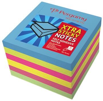 Pergamy Extra Sticky notes, ft 76 x 76 mm, neon , bloc de 90 feuilles, paquet de 6 pièces