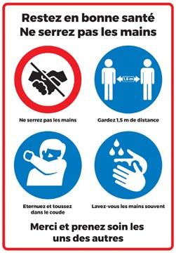 Veiligheidssticker, pictogrammen met omgangsregels, ft A4 (Franse versie)