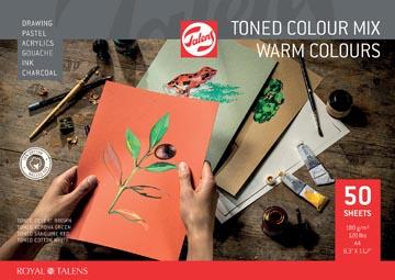 Talens papier à dessin de couleur, couleurs chaudes, ft A4