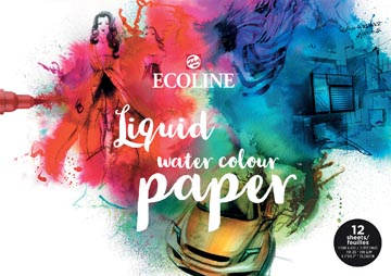 Talens Ecoline papier, blanc avec grain fin 300 g/m², ft A3, bloc de 12 feuilles