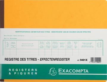 Exacompta actionnaires, ft 24 x 32 cm, bilingue, pour BV-SRL