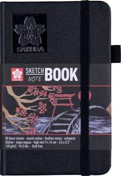 Sakura carnet de croquis Note, noir, ft 9 x 14 cm