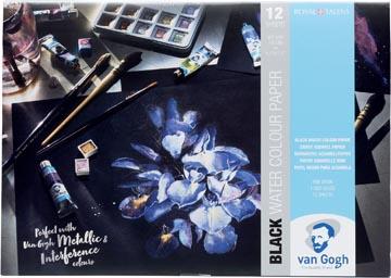 Van Gogh papier aquarelle, noir, 360 g/m², ft A4, bloc de 12 feuilles