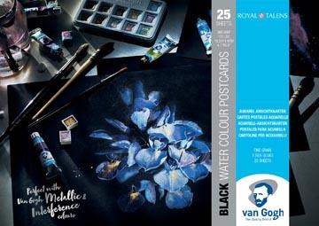 Van Gogh papier aquarelle, noir, 360 g/m², ft A6, bloc de 12 feuilles