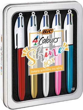 Bic stylo bille My 4 Colours Shine Box 5 pièces
