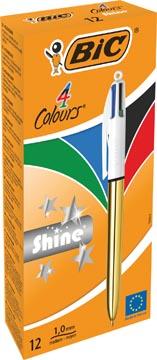 Bic balpen 4 Colour Shine, goud