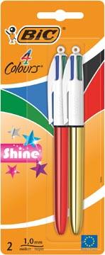 Bic stylo bille 4 Colours Shine, blister de 2 pièces