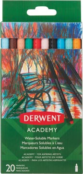 Derwent aquarelstift Academy, blister van 20 stuks in geassorteerde kleuren