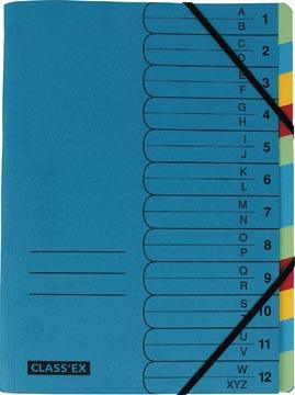 Class'ex trieur A-Z et 1-12, bleu avec 12 onglets colorés