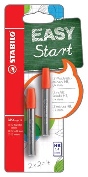STABILO EASYergo potloodstift, 1,4 mm, blister van 2 kokers van 6 mines