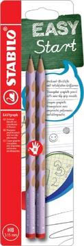 STABILO EASYgraph S Pastel potlood, HB, 3,15 mm, blister van 2 stuks, voor rechtshandigen, lila