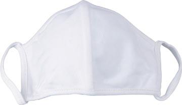 Wasbaar mondmasker, uni wit, maat: universeel, pak van 5 stuks