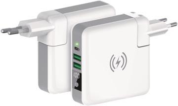Ksix chargeur de voyage 4-in-1: Powerbank, chargeur sans fil, chargeur réseau et adapteur mondial