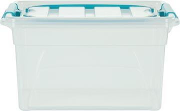 Whitefurze Carry Box boîte de rangement 7 litres, transparent avec poignées bleu