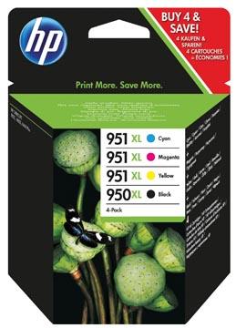 HP inktcartridge 950XL en 951XL, 2.300 + 3 x 1.500 pagina's, OEM C2P43AE, 4 kleuren