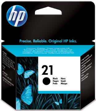HP inktcartridge 21, 190 pagina's, OEM C9351AE#301, zwart, met beveiligingssysteem