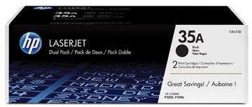 HP toner 35A, 1 500 pagina's, OEM CB435AD, zwart, duopack