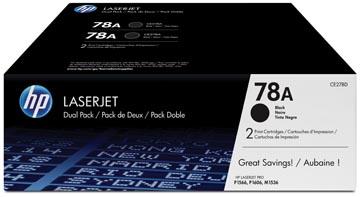 HP toner 78A, 2 100 pages, OEM CE278AD, noir, paquet de 2 pièces