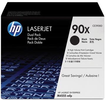 HP toner 90X, 24 000 pagina's, OEM CE390XD, zwart, duopack