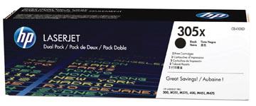 HP toner 305X, 4 000 pagina's, OEM CE410XD, zwart, duopack