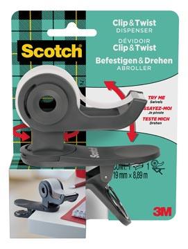 Scotch clip & twist dérouleur de ruban adhésif, +1 rouleau Scotch Magic tape, gris charbon de bois