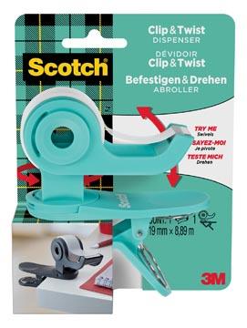 Scotch clip & twist dérouleur de ruban adhésif, +1 rouleau Scotch Magic tape, cyan