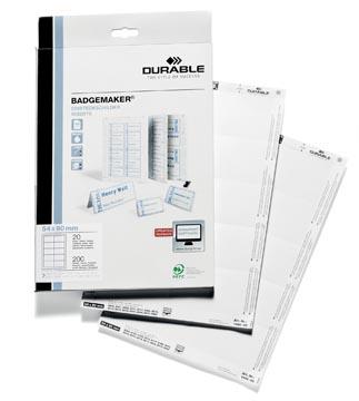 Durable cartes pour badges ft 54 x 90 mm (pour badges 8004, 8012, 8101, 8111, 8117, 8604 et 8610), 200...