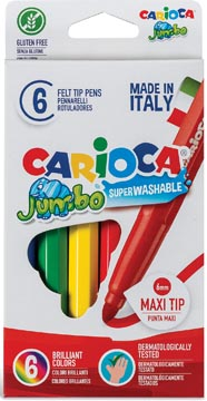 Carioca viltstift Jumbo Superwashable 6 stiften in een kartonnen etui