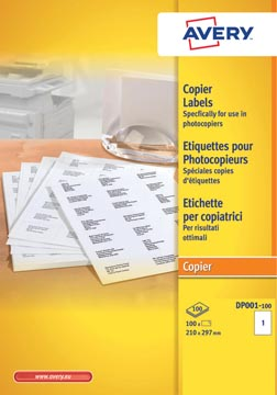Avery DP001-100 étiquettes pour photocopieurs ft 210 x 297 mm (l x h), blanc, boîte de 100 pièces