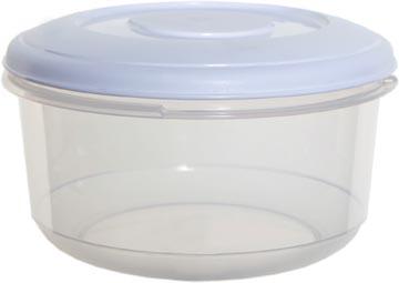 Whitefurze boîte de conservation ronde 0,5 litre, transparent avec couverle blanc