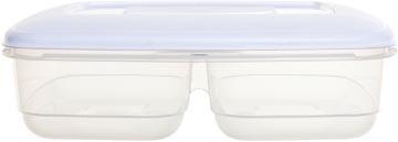 Whitefurze Twin boîte de conservation 2,5 litres, à 2 compartiments, transparent avec couverle blanc