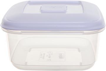 Whitefurze boîte de conservation carré 1,6 litres, transparent avec couverle blanc