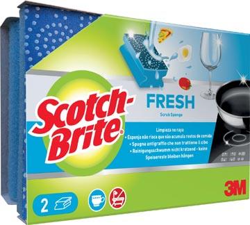 Scotch Brite éponge abrasif Fresh, non-rayures, avec protection des ongles, paquet de 2 pièces