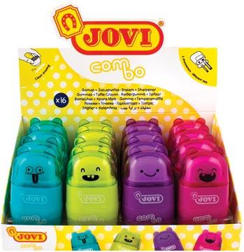 Jovi taille-crayon/gum Combo, presentoir de 16 pièces en couleurs assorties