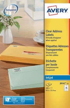 Avery étiquettes d'adresse transparentes ft 99,1 x 33,9 mm (l x h),400 pièces, 16 étiquettes par feuille