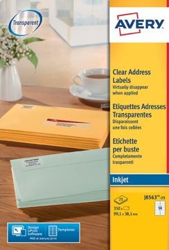 Avery étiquettes d'adresse transparentes ft 99,1 x 38,1 mm (l x h), 350 pièces, 14 par feuille