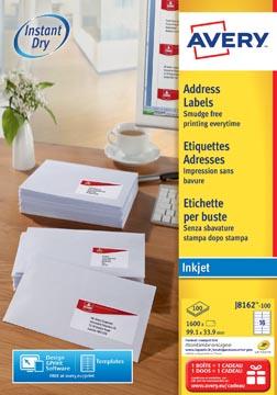 Avery witte etiketten QuickDry ft 99,1 x 38,1 mm (b x h), 1.400 stuks, 14 per blad