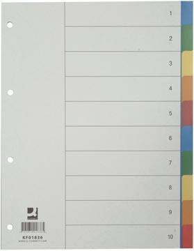 Q-Connect intercalaires jeu 1-10, avec page de garde, ft A4, couleurs assorties