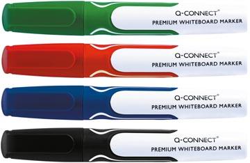 Q-Connect Premium whiteboard marker, ronde punt, geassorteerde kleuren, pak van 4 stuks