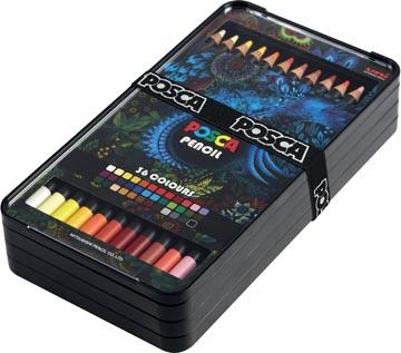 Posca Crayons de couleur, boîte de 36 pièces