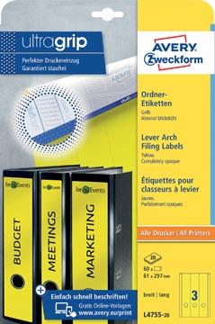 Avery Zweckform L4755-20 ordnerrugetiketten ft 29,7 x 6,1 cm (b x h), 60 etiketten, geel