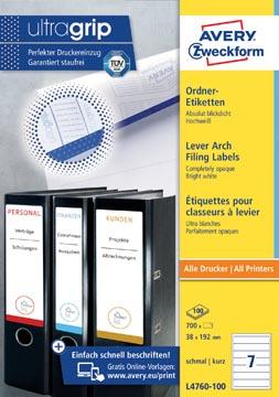 Avery Zweckformft L4760-100 étiquettes pour classeurs à levier ft 192 x 38 mm (lxh), 700 étiquettes,blanc