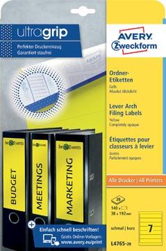 Avery Zweckform L4765-20 étiquettes pour classeurs à levier ft 19,2 x 3,8 cm (lxh), 140 étiquettes, jaune