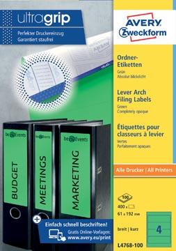 Avery Zweckform L4768-100 ordnerrugetiketten ft 19,2 x 6,1 cm (b x h), 400 etiketten, groen