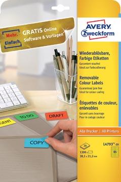 Avery étiquettes colorées ft 38,1 x 21,2 mm (l x h), enlevable, jaune, 1300 pièces, 65 par feuille