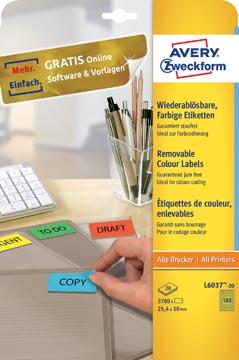 Avery étiquettes colorées ft 25,4 x 10 mm (l x h), enlevable, jaune, 3780 pièces, 189 par feuille
